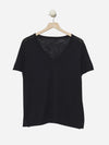 Black - V-Neck Short Sleeve 100% Cotton Top Sweater - V-Neck Short Sleeve 100% Cotton Top Sweater