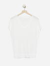 Ecru - Sheer Short Sleeve Top Sweater - Sheer Short Sleeve Top Sweater