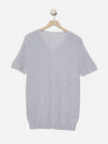 Heather Grey - V-Neck Short Sleeve Top Sweater - V-Neck Short Sleeve Top Sweater