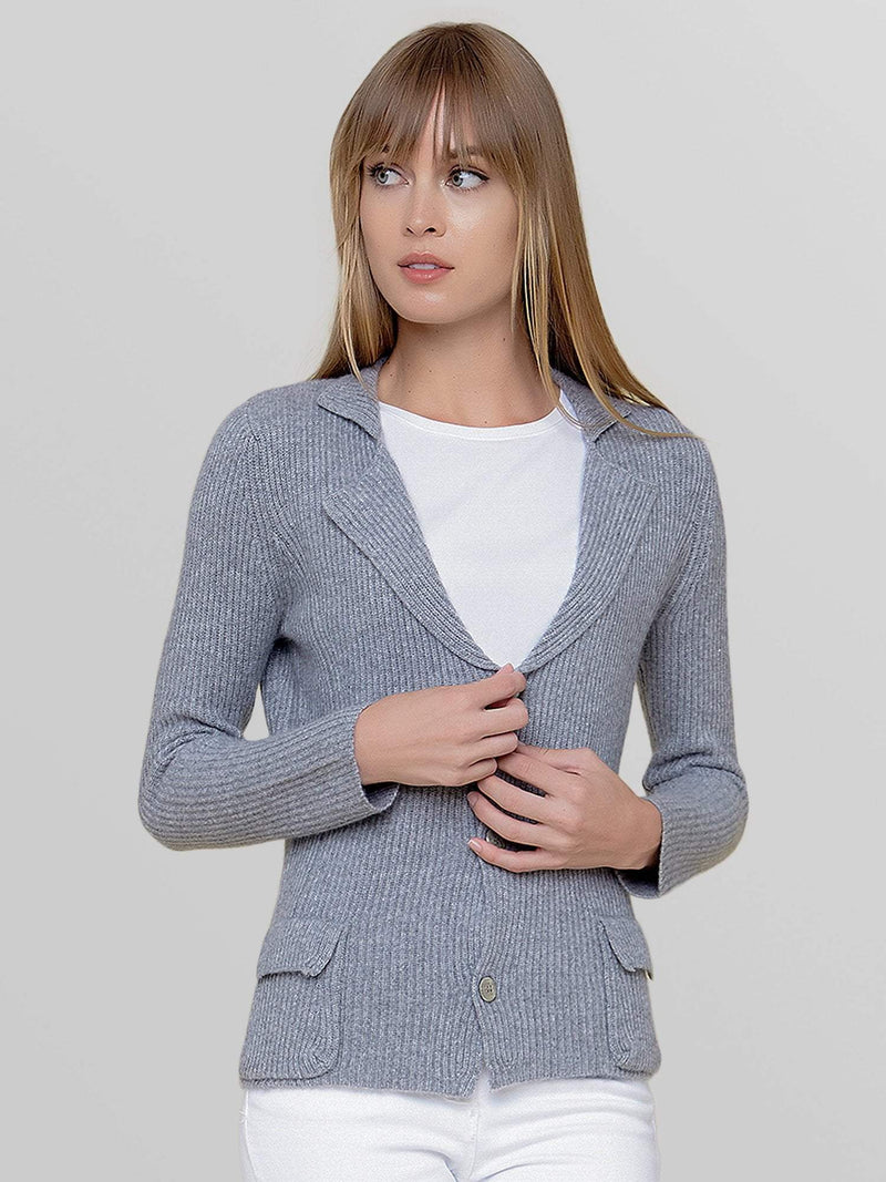 Heather Grey - Button-Up Cashmere Cardigan with Pockets - Button-Up Cashmere Cardigan with Pockets