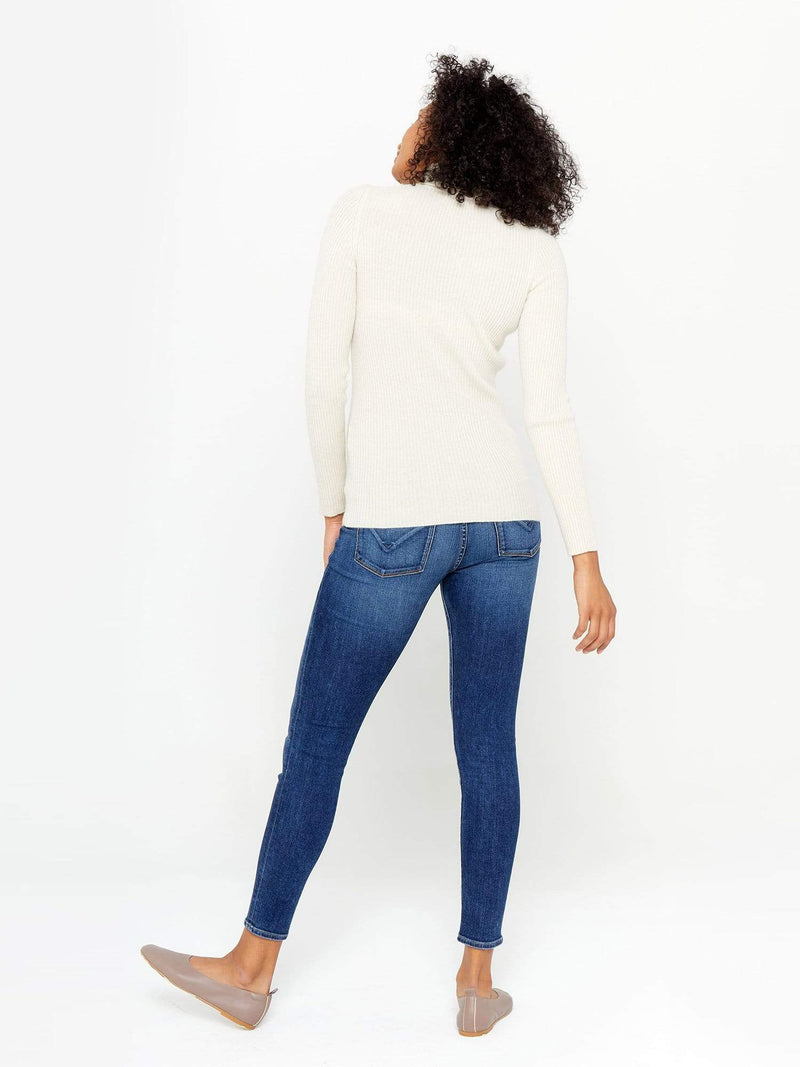 Ivory - Ribbed Turtleneck Cashmere Sweater - Ribbed Turtleneck Cashmere Sweater