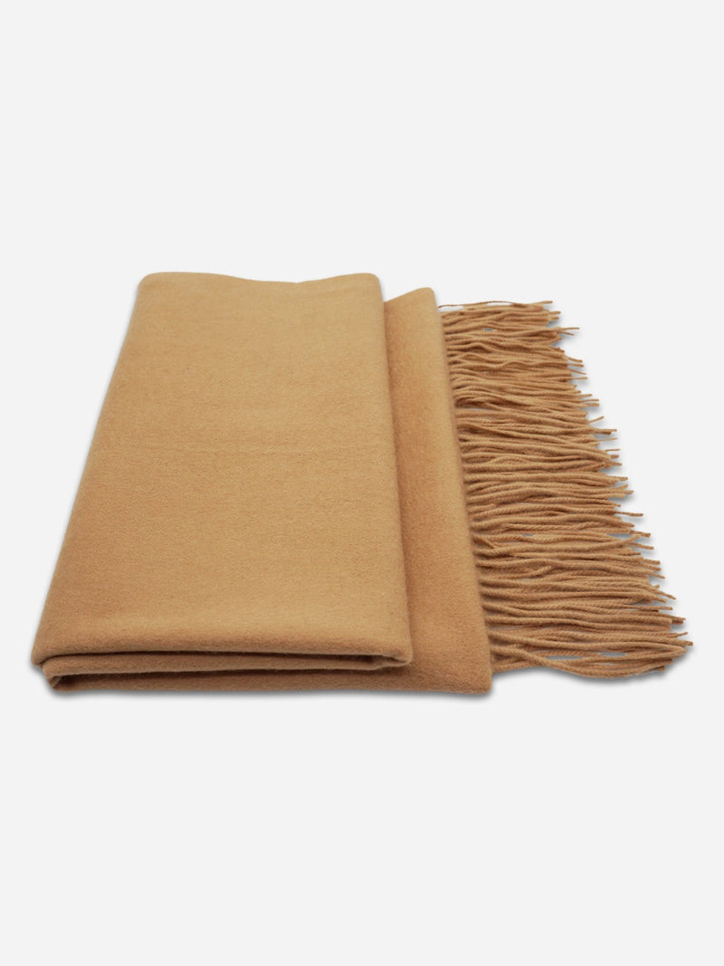 Camel - Unisex Fringe Solid Color Shawl Wrap Scarf - Unisex Fringe Solid Color Shawl Wrap Scarf