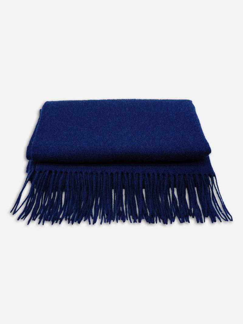 Blue - Unisex Fringe Solid Color Shawl Wrap Scarf - Unisex Fringe Solid Color Shawl Wrap Scarf