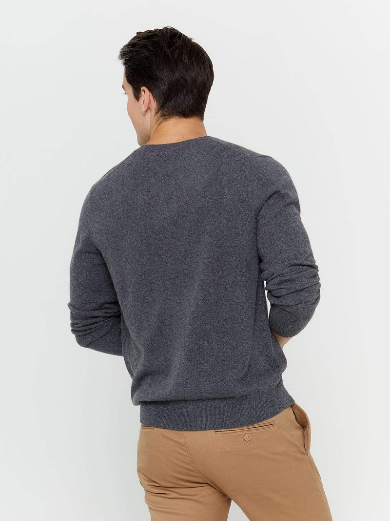 Charcoal - Men's V-Neck Cashmere Sweater - Men's V-Neck Cashmere Sweater