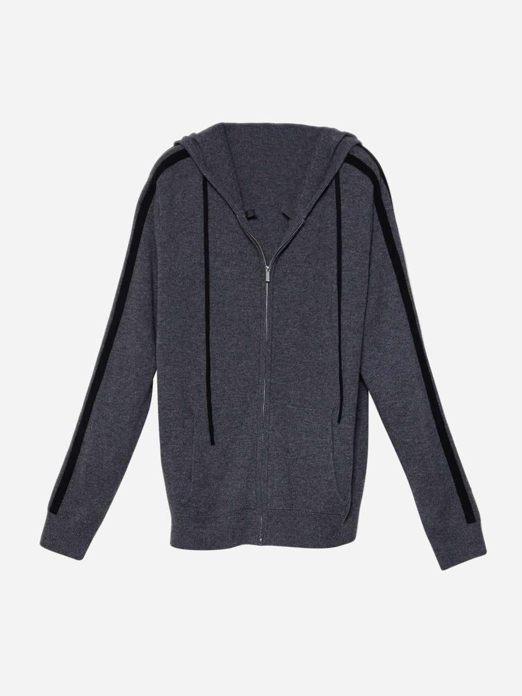 Men's Long Sleeve Zip-Through Cashmere Hoodie with Drawstring