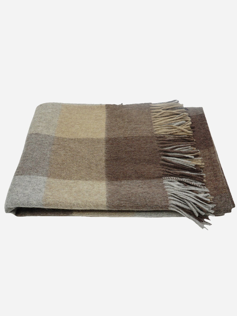 Mocha/Grey/Winter Twig - Cashmere Plaid Throw with Fringes - Cashmere Plaid Throw with Fringes