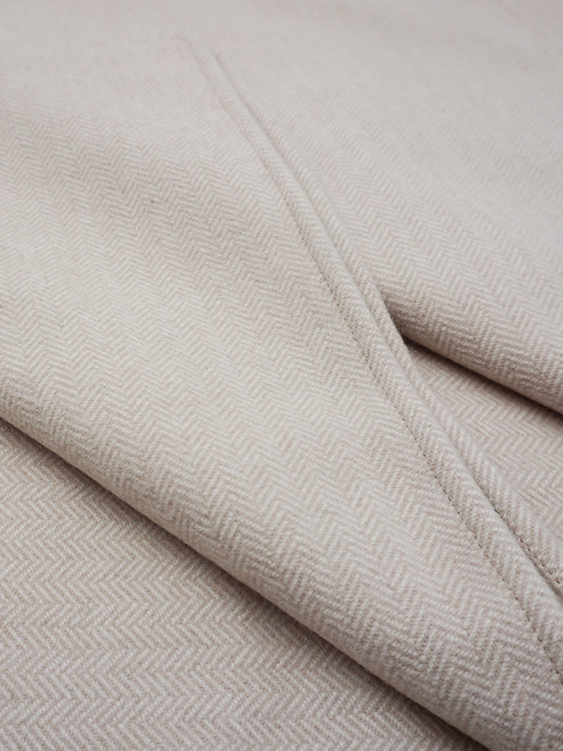 Beige/Ivory - Wool Cashmere Twin Size Bed Blanket - Wool Cashmere Twin Size Bed Blanket