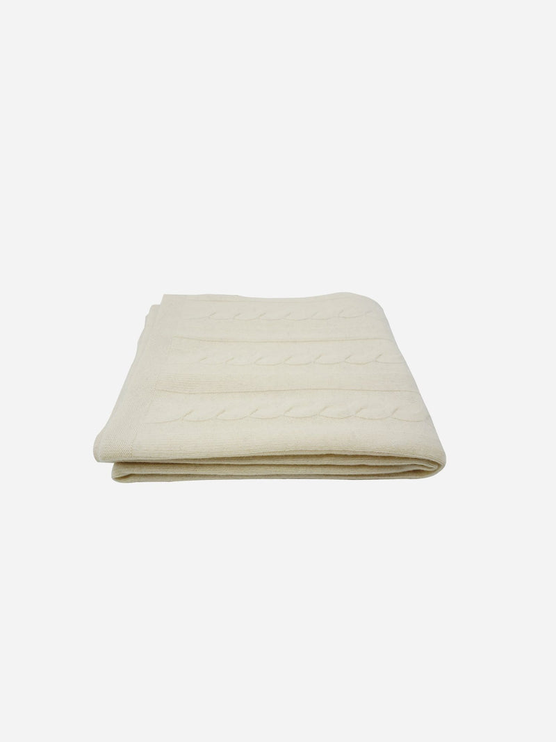 Ivory - Cable Knit Wool Cashmere Throw Blanket - Cable Knit Wool Cashmere Throw Blanket