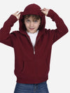 Burgundy - Kids Wool Cashmere Full-Zip Hoodie - Burgundy - Kids Wool Cashmere Full-Zip Hoodie - Burgundy