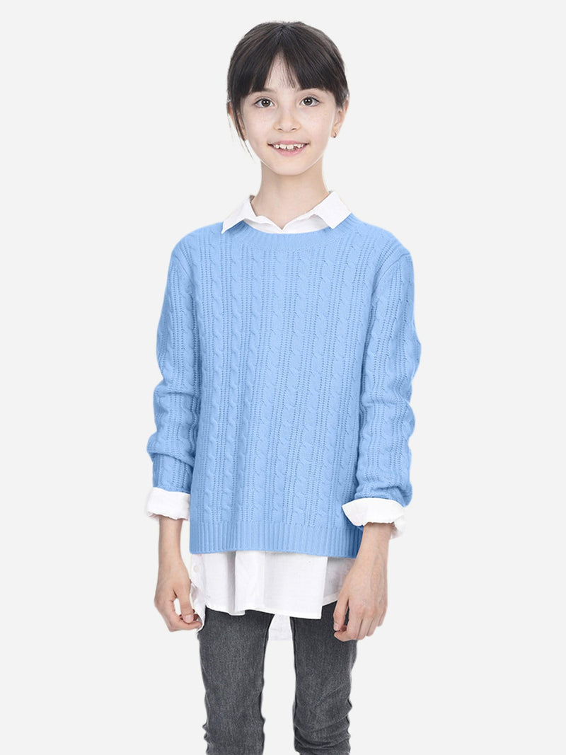 Baby Blue - Kids Cable Crew-Neck Sweater - Kids Cable Crew-Neck Sweater