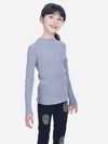 Grey - Kids Ribbed High-Neck Shirt - Kids Ribbed High-Neck Shirt