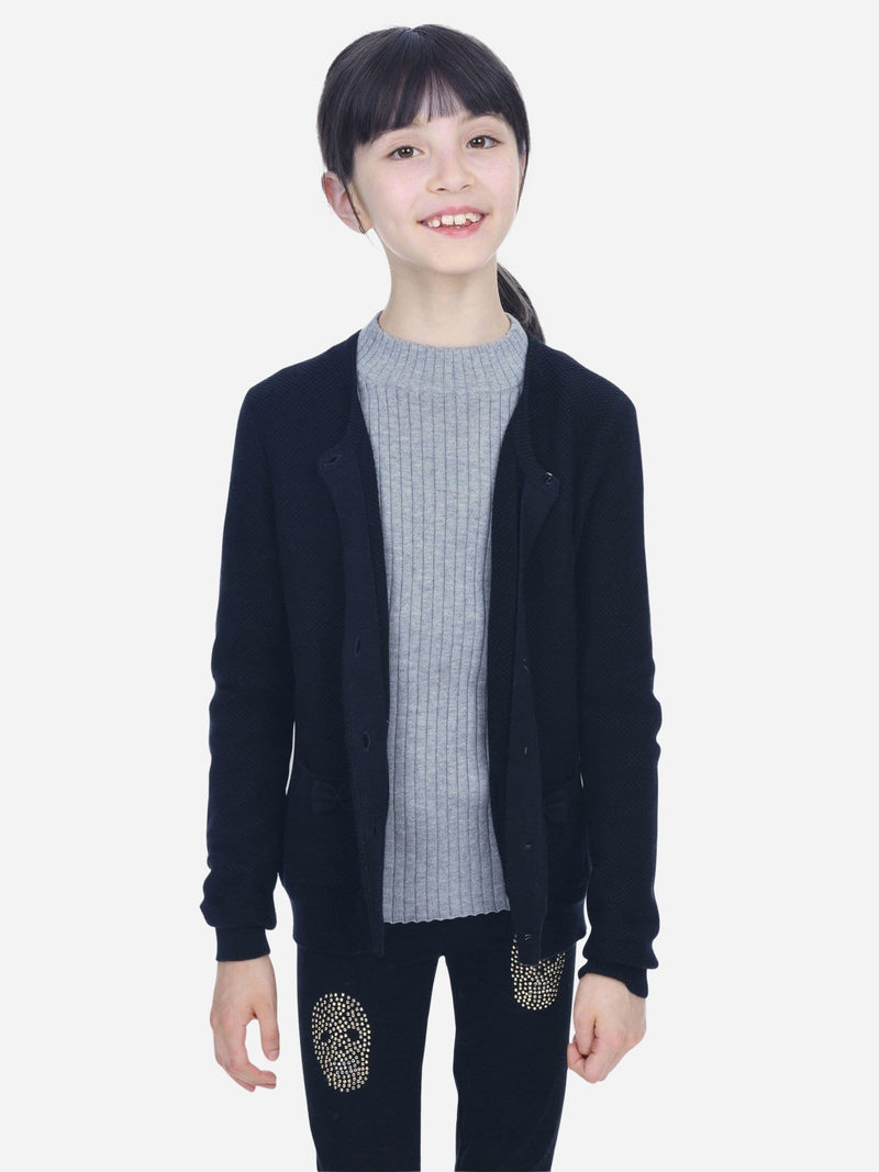 Black - Girl Crew-Neck Long Sleeve Cardigan - Girl Crew-Neck Long Sleeve Cardigan