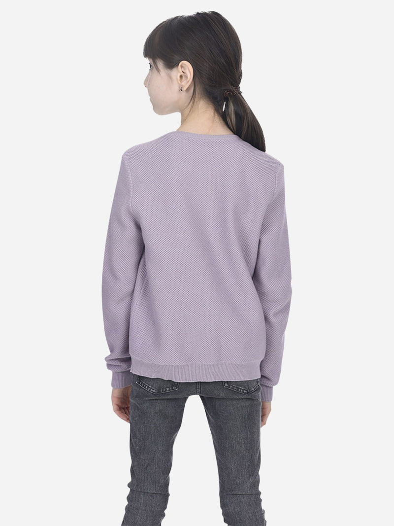 Lavender - Girl Crew-Neck Long Sleeve Cardigan - Girl Crew-Neck Long Sleeve Cardigan