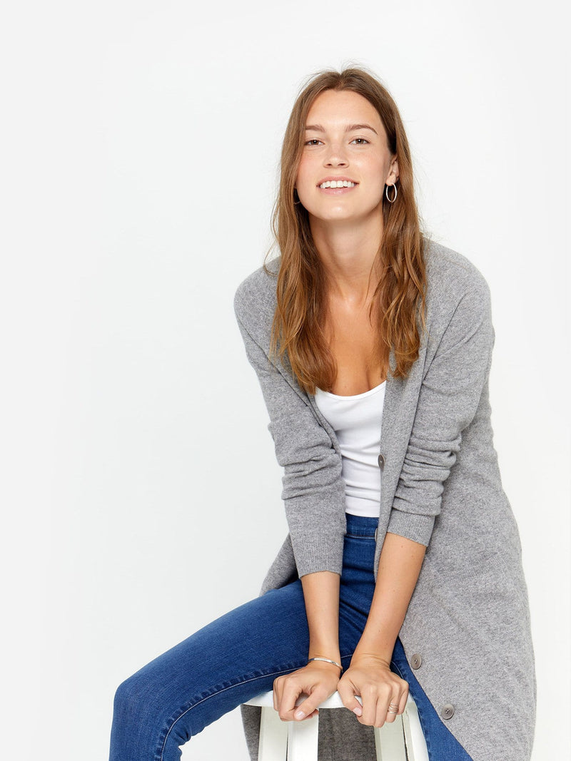 Heather Grey - V-Neck Long Button Cashmere Cardigan - V-Neck Long Button Cashmere Cardigan