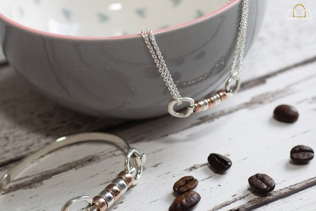 Hiho Silver Jewellery Cherry Roller Necklace and Cherry Roller Bangle Bracelet in Rose Gold and Sterling Silver