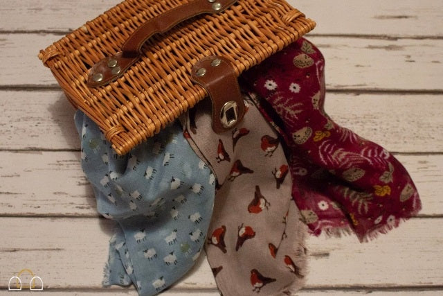 Peony Country Style Scarves in Robin, Sheep and Hedgehog Print