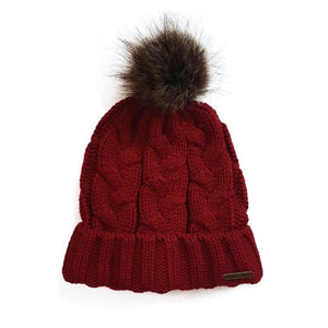 Baleno Clothing Katrien Bobble Hat in Burgundy