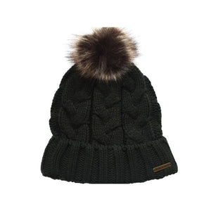 Baleno Clothing Katrien Bobble Hat in Dark Olive Green