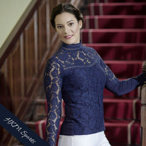 HKM Lauria Garrelli Lace Competition Shirt in Deep Blue