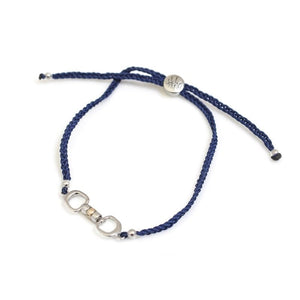 Hiho Silver Cherry Roller Friendship Bracelet in Navy,Equestrian Inspired gift