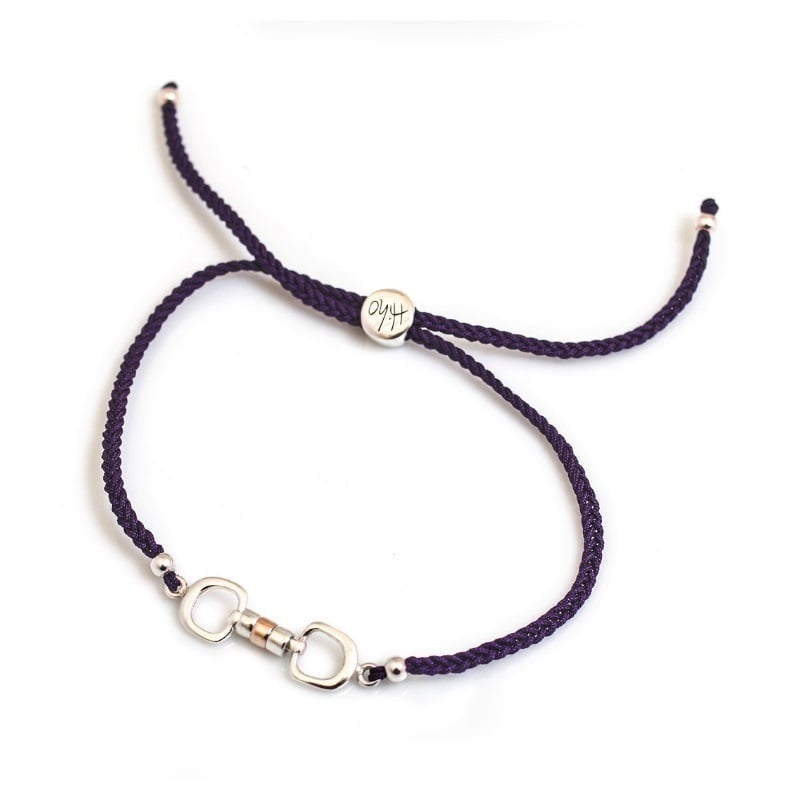 Hiho Silver Cherry Roller Friendship Bracelet in Purple, Sterling Silver and Rose Gold Roller Beads. Equestrian Inspired Jewellery.
