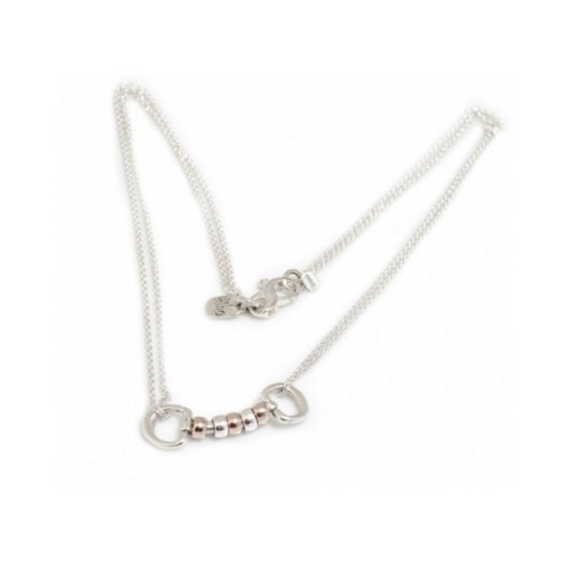 Hiho Silver Cherry Roller Necklace in Sterling Silver and 18ct Rose Gold, Equestrian Inspired Jewellery