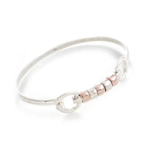Hiho Silver Exclusive Cherry Roller Snaffle Bangle in Sterling Silver & 18ct Rose Gold Plated