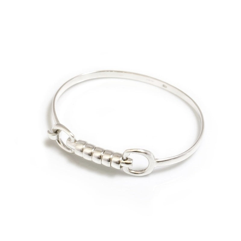 Hiho Silver Exclusive Cherry Roller Snaffle Bangle in Sterling Silver