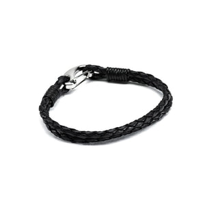 Hiho Silver Plaited Leather Bracelet in Black Leather