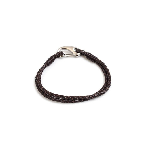 Hiho Silver Plaited Leather Bracelet in Brown Leather