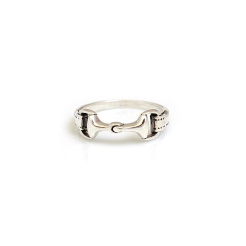 Hiho Silver Detailed Snaffle Bit Ring in Sterling Silver, Equestrian Inspired Jewellery