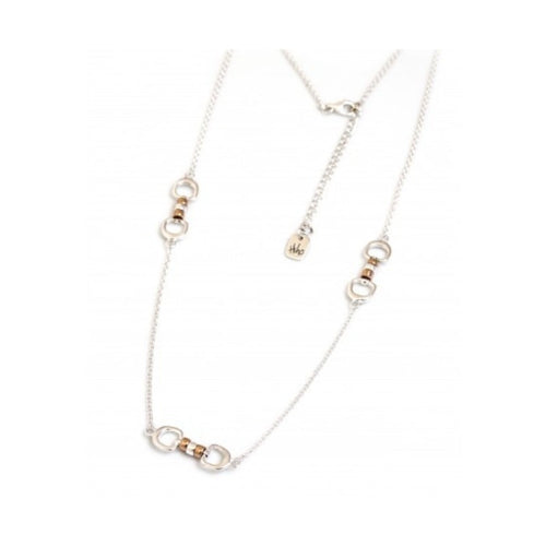 Hiho Silver Triple Cherry Roller Necklace in Silver and 18ct Rose Gold Plate