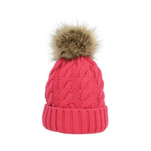 womens bobble hat pink