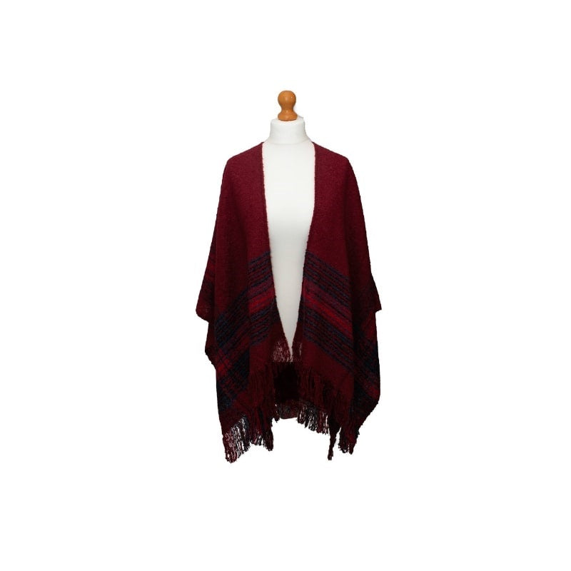 Ness Murrayfield Cosy Knitted Wrap in Red Check