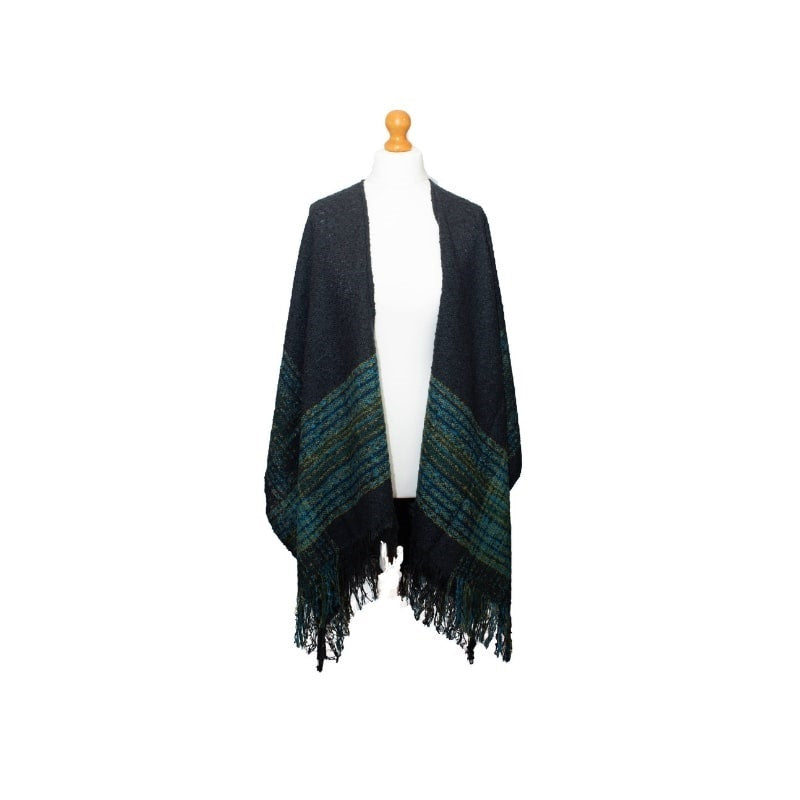 Ness Murrayfield Cosy Knitted Wrap in Navy Green Check