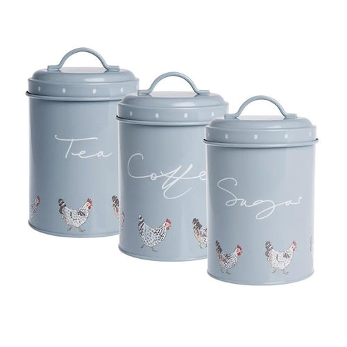Sophie Allport Chicken Tea, Coffee, Sugar Storage Tins (Set of 3), country home decor