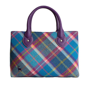 Ness Ebony Classic Tweed Handbag in Fresh Bluebell Check