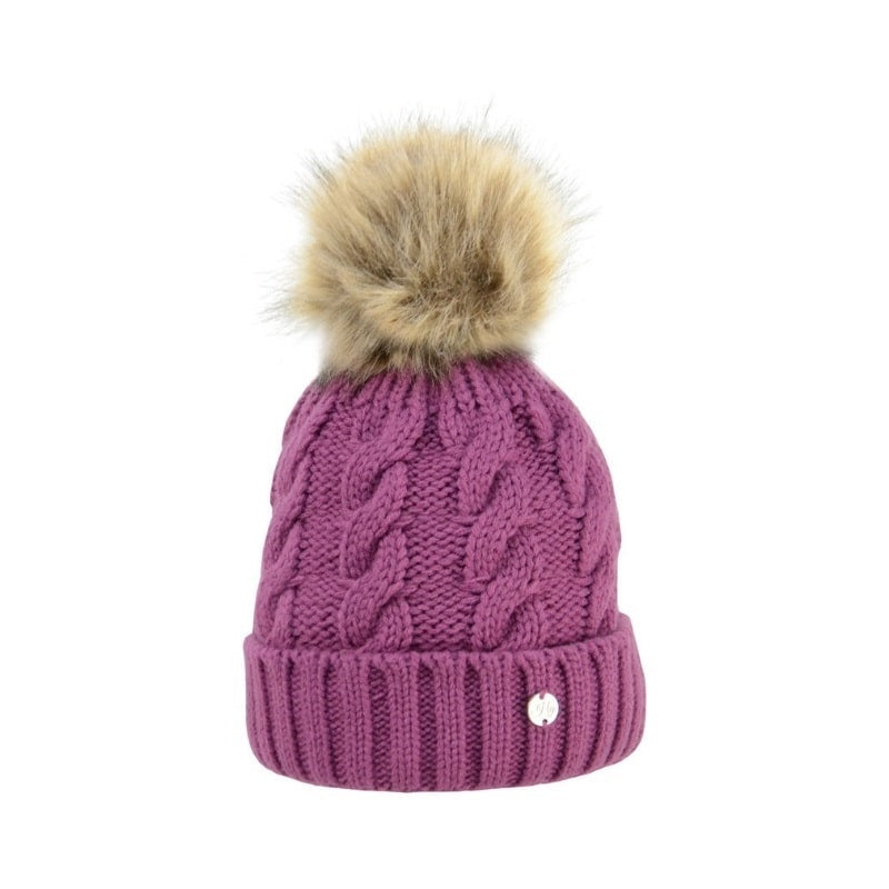 hy melrose cable knit bobble hat