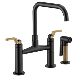 Litze Bridge Kitchen Faucet w/ Square Spout and Industrial Handle