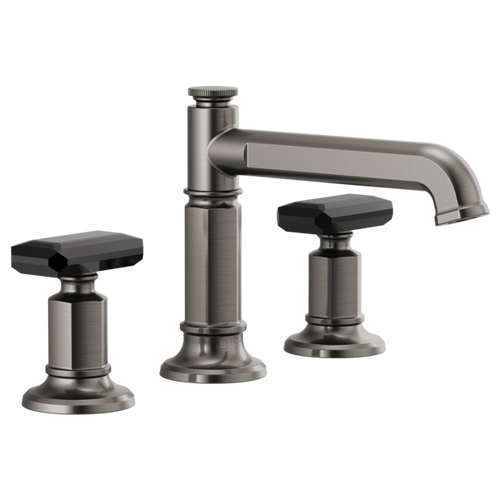 Invari Widespread Lavatory Faucet With Column Spout & Black Crystal Knob