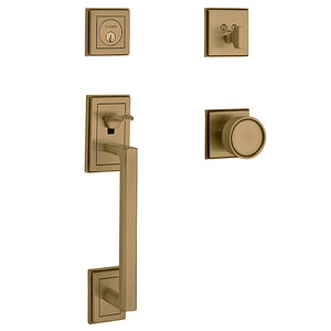 Baldwin Hollywood Hills Sectional Handleset Satin Brass & Brown Single Cylinder Model # 85310060ENTR