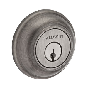 Baldwin Traditional Round Deadbolt Single Cylinder Matte Antique Nickel Model # SC.TRD.152