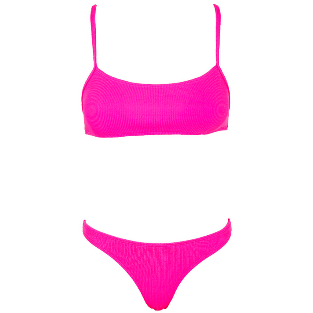 CHARLIE Ribbed Bikini Set - Candy Pop