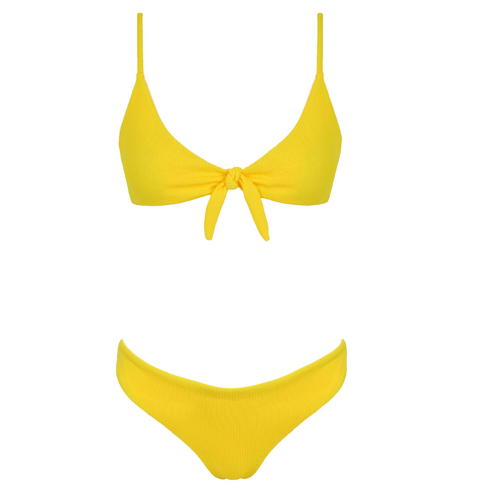 RENEE Ribbed Bikini Set - Lemon