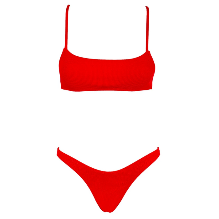 CHARLIE Ribbed Bikini Set - Red Affair