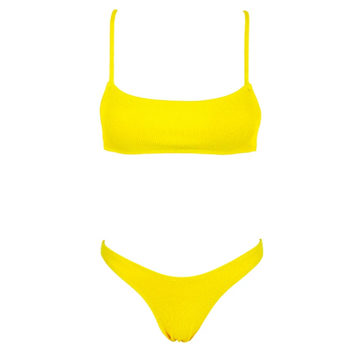 CHARLIE Ribbed Bikini Set - Lemon
