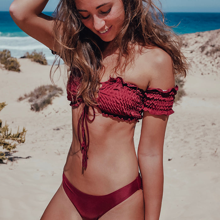 LAYLA Off-Shoulder Bikini Set - Merlot