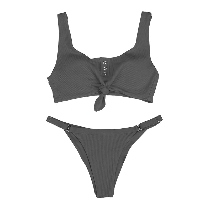 NORI Ribbed Tide Knot Bikini Set - Gray