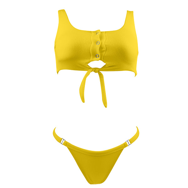 NORI Ribbed Tide Knot Bikini Set - Sunshine Yellow