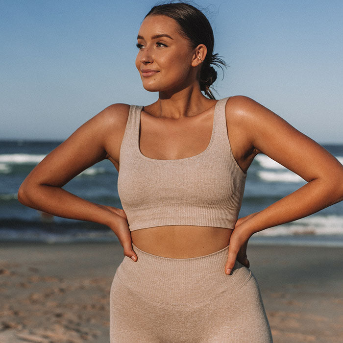 Cream Ribbed Sports Crop